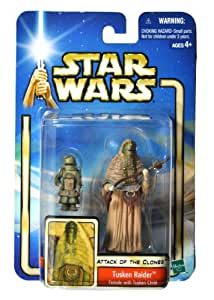 "Hasbro Year 2002 Star Wars Collection 2 ""Attack of the Clones"" 4 Inch Tall Action Figure #08 - Tusken Raider Female with Tusken Child and Gaffi Stick"
