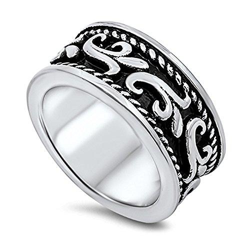 Filigree Design Ring Ring (Stainless Steel Rope Lined Filigree Design Ring - size 10)