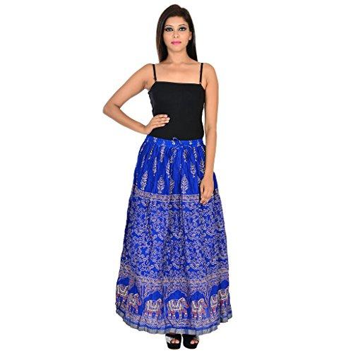 Rangsthali Cotton Gold Printed Straight Long Skirt for Women,Deal Diwali Gift for Sister, Diwali Offer on Skirts by Rangsthali