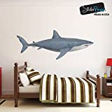 kids wall decals sharks - Great White Shark Wall Decal Peel and Stick Giant Life Size (4.2ft long) Graphic Sticker 19in Tall X 50in Wide #6084s (Facing Right)