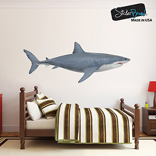 Great White Shark Wall Decal Peel and Stick Giant Life Size (4.2ft long) Graphic Sticker 19in Tall X 50in Wide #6084s (Facing Right)