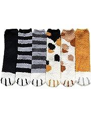 Vintergolvstrumpor Slipper Socks Cat Claws Cute Warm Animal Fluffy för Women Girl 6PCS Utility