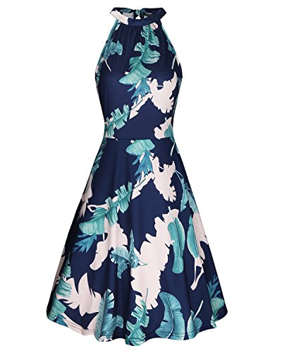 OUGES Women's Halter Neck Floral Summer Casual Sundress(Floral-06,M)