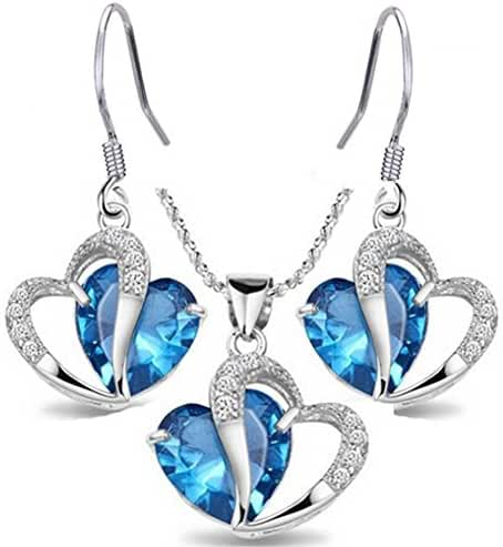 Finov Crystal Heart Necklace and Earrings Jewelry Set for Women Girls