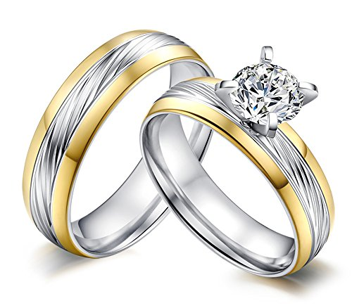 Stainless Steel 18k Gold Plated Wedding Engagement Band Couple Ring - 7