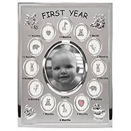 Malden International Designs Baby\'s First Year Collage Picture Frame, 13 Option, 1-3.5x4, 12-1x1, Silver