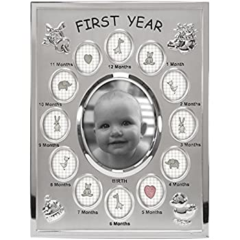 Malden International Designs Baby's First Year Collage Picture Frame, 13 Option, 1-3.5x4, 12-1x1, Silver