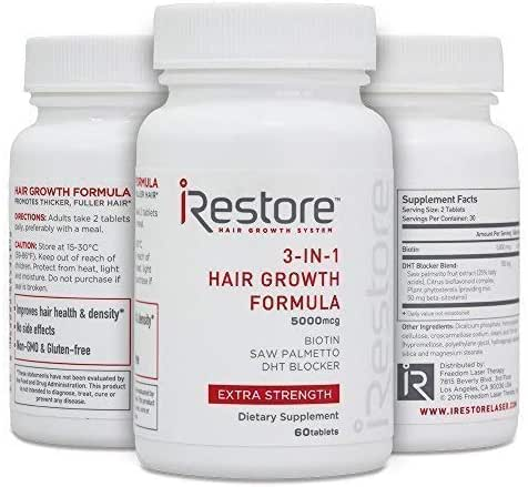 iRestore 3-in-1 Hair Growth Supplement with Biotin, DHT Blocker, Saw Palmetto, and Other Extracts (60 count) – 3 Pack