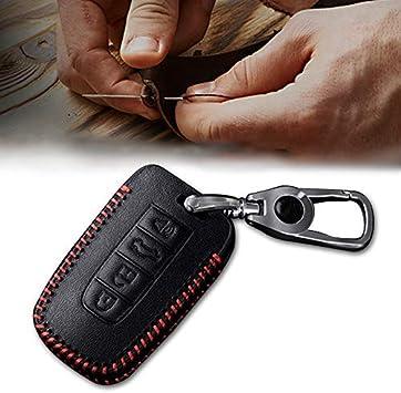 Image of Carcasa Cuero para Llave KIA 4 Botones Llave Control Remoto Inteligente línea roja con Llaveros 1 PC Modelo D