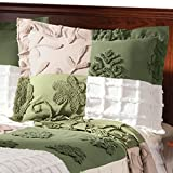 MS HOME Standard Size Pure Soft Cotton w/Floral Design Chenille Pillow Comforter Shams - Machine-washed with Color Variations - 26'' L x 20'' W (Sage)
