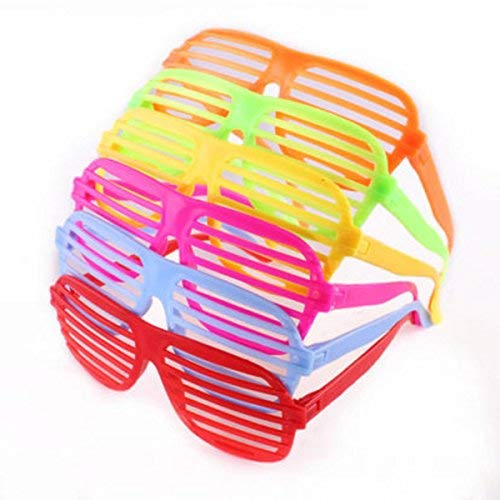 12 Pack Neon Color Shutter Style Glasses 80's Party Slotted Sunglasses for Kids & Adults, 80s Retro Rock Pop Star Disco Dress-Up Party Pack Supply Set]()