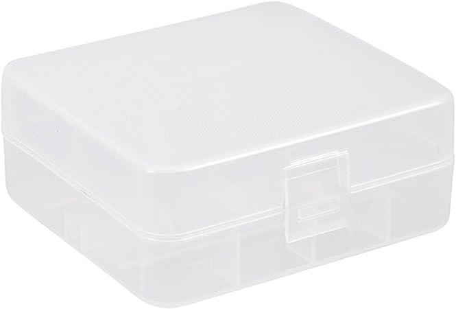 sourcing map Caja de Almacenamiento de Batería Recipiente Protector Transparente para Pilas AAA/AA 2 x 26650: Amazon.es: Hogar