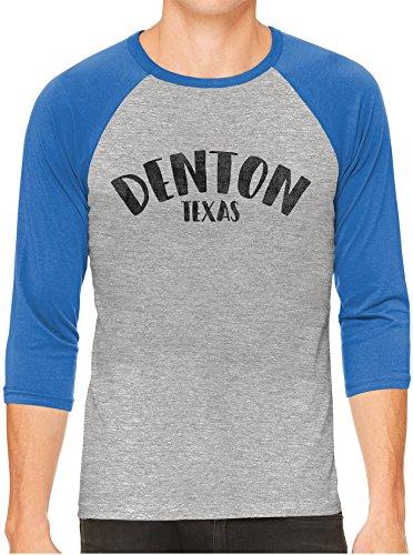 Austin Ink Apparel Unisex Mens City Of Denton Texas 3/4 Sleeve Grey Baseball T-Shirt, Royal Sleeves, - Women Women To Denton Tx