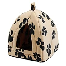 HHF Pet Supplies For Cats Small Dogs Rabbits Or Toy Breed Dogs, Cat Cave Bed Pet Tent Pet igloo With Lovely Paw Prints Dual Use Foldable Bed, Five Colors For 4 Seasons ( Color : Black Paw )