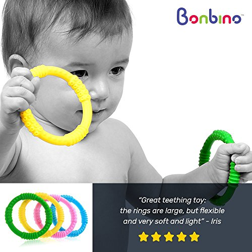Teether Rings - (4 Pack) Silicone Sensory Teething Rings - Fun, Colorful and BPA-Free Teething Toys - Soothing Pain Relief and Drool Proof Teether Ring (Unisex) by Bonbino (Image #2)
