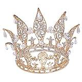 Santfe 3'' Crystal Rhinestone Faux Pearl Full Crown Tiaras Wedding Prom Pageant Crowns Headband