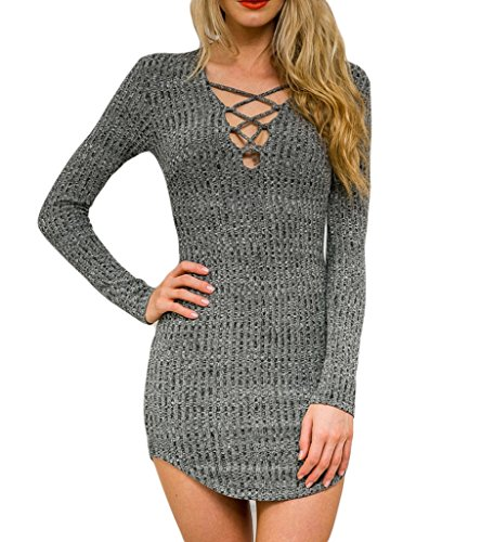 Sexy Dress For Teens (Persun Women Grey V Neck Long Sleeve Bodycon Mini Sweater Dress Top, Grey, Small)