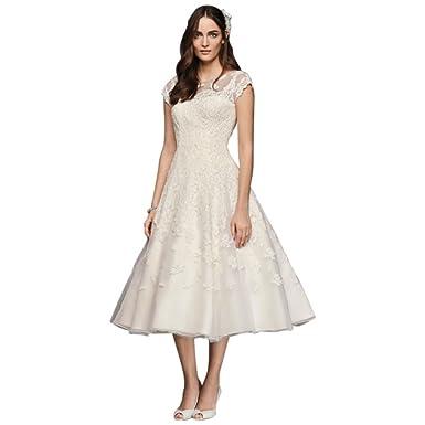 fb6b21d86fd2 Oleg Cassini Cap Sleeve Illusion Wedding Dress Style CMK513, Ivory, 4
