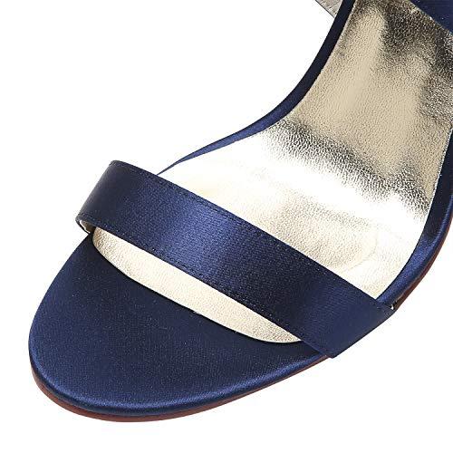 Sandali con scuro raso matrimonio con fibbia Elegantpark tacco da alto sposa toe donna Hp1818 con Blu Sandali in per Cinturino strappi Open Scarpe fSnfZwXBq8