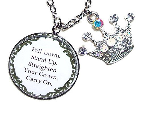 STAND UP STRAIGHTEN CROWN Necklace GLASS Pendant Silver Pltd Inspirational Quote Meaningful Words Empowering for - Glasses Straighten
