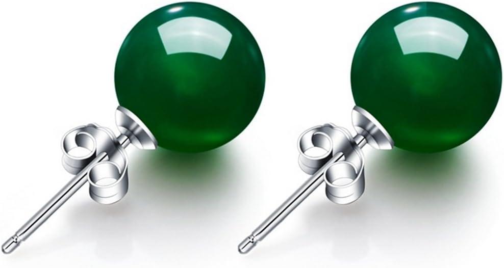 AIUIN Pendientes de calcedonia verde natural para mujer, plata de ley con piedras de ónix y cristal, con cierre de broche para mujeres y niñas, 1 par, con una bolsa de joyería