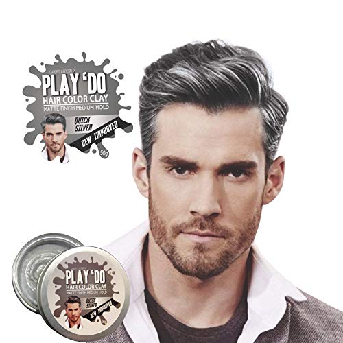 Play 'Do Temporary Hair Color, Gray Hair Wax, Hair Clay, Mens Grooming, Pomade, Silver hair dye(1.8 ounces) ...