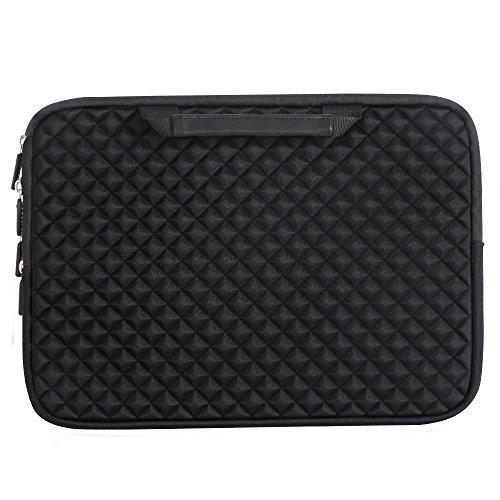 iCozzier 15-15.6 Inch Diamond Foam Handle Laptop Sleeve Shock Resistant ElectronicsAccessories Storage/Stylish Travel Organizer for Laptop/Ultrabook/ Notebook/Netbook/ MacBook - Black by iCozzier (Image #4)