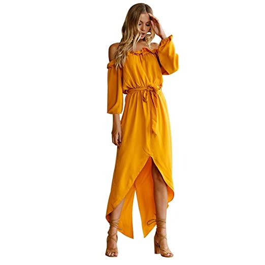c6dfc4541e25 SINMA Womens Casual Off Shoulder Slash Neck Ruffle Loose Solid Maxi Dress  with Belt (S