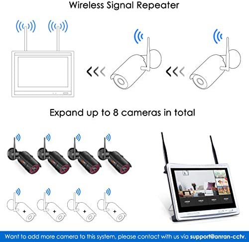 [All-in-One] 1080P Home Security Camera System Wireless with 12 Inch Monitor WiFi Surveillance NVR Kits,8 Channel WiFi Video Security System with 1TB HDD with 4Pcs 2.0MP IP Cameras,Free APP by ANRAN 517H4FHQ2FL