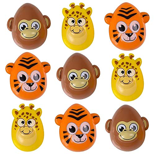 Safari Animal Easter Eggs - Pack of 12 2.5'' Plastic Animal-Shaped Eggs for Easter Basket Fillers, Treasure Chest Stuffers, Novelty Toy, Party Supplies ()