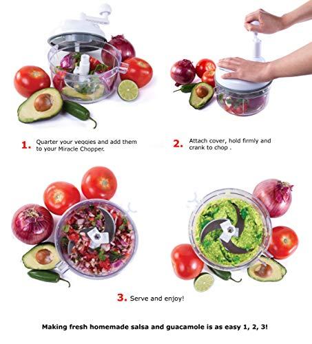 Kitchen + Home Manual Food - 4 in 1 Miracle Chopper, Salsa Maker, Shredder Manual Food Processor