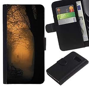 Billetera de Cuero Caso Titular de la tarjeta Carcasa Funda para Samsung Galaxy S6 SM-G920 / Orange Glow Park Bench Romantic / STRONG