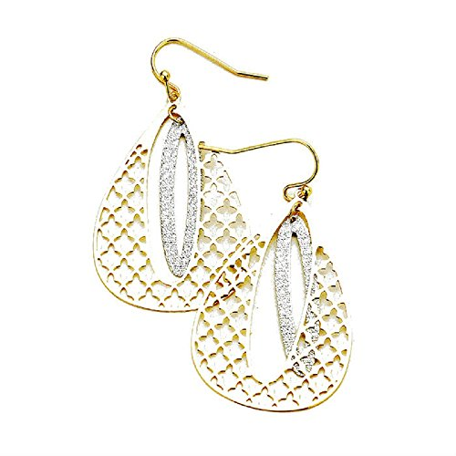 - Women's Filigree Quatrefoil Pattern Two-Tone Metal Alloy Earrings, 1.2