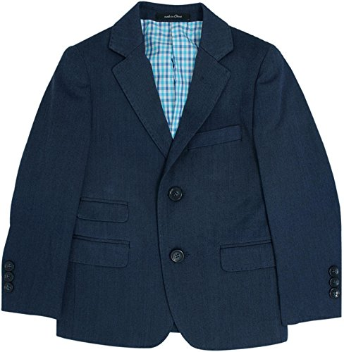 T.O. Collection Boys Blazer Sports Suit Jacket (Slim, Regular, Husky Fits) - Blue Birdseye, 12 Husky