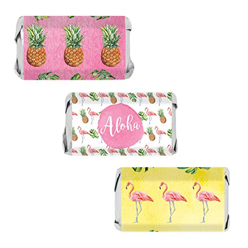 (Flamingo Pineapple Tropical Party Favors - Mini Candy Bar Wrapper Stickers, 54)