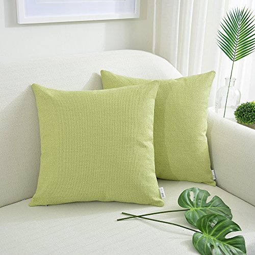 NATUS WEAVER Soft Cotton Linen Decorative Throw Pillow Case Bright Square Cushion Cover Blended Weaving Pillowcase for Sofa, 18 x 18 Inch, Mustard Green, Set of - Mustard Blended