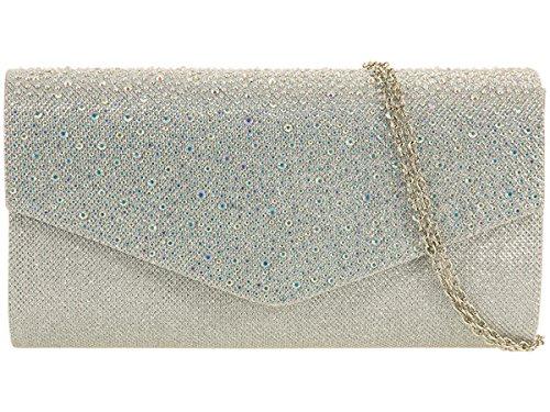 Xardi London, pochette da sera da donna, con glitter e diamanti, per matrimonio Silver