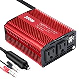 300W Power Inverter DC 12V to 110V AC Car Converter with 4.2A Dual USB Car Adapter for Smartphones, Tablet, Laptop, Breast Pump