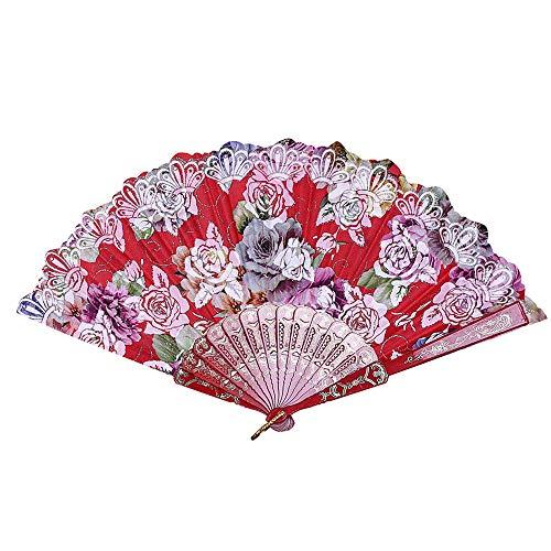 Konxxtt Charming Elegant Modern Woman Folding Pocket Purse Hand Fan, Collapsible Holding Painted Fan(Red,10Pcs, 23cm/9.05