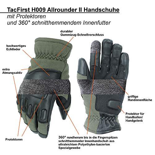 TacFirst Allrounder II Gants Tactiques de Police Anti-Coupure BW, SEK, Gants de sécurité 2