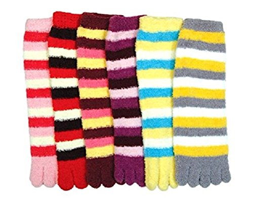 I&S Women's Five Toes Finger Toe Socks, size 9-11 6 Pack (6 Pairs Fuzzy Toe ()