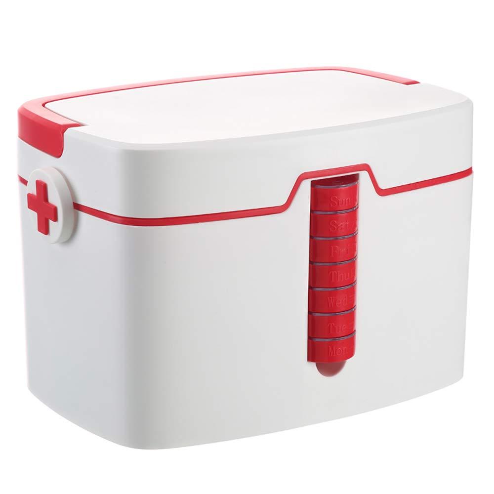 ドラッグ収納ボックス 医療ボックス-PP材料、大容量ポータブル肥厚と耐久性のある7日間の医療ボックス多層防滴シール防湿防塵、ホームトラベルキャンプ救急箱医療ボックス薬収納ボックス - 2色 (色 : Red)  Red B07MW73NK6