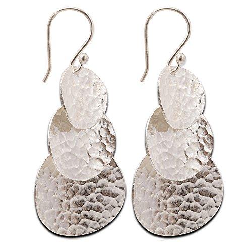 Dangle Hammered Karen Hill Tribe Design Earring Pure Silver ()