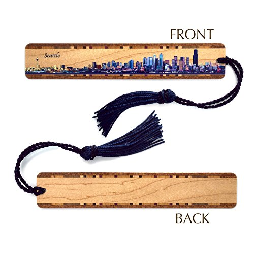 Seattle Panoramic Skyline on Maple Wood Bookmark with Navy Rope Tassel - Personalized version also available - search - Seattle Stores Downtown