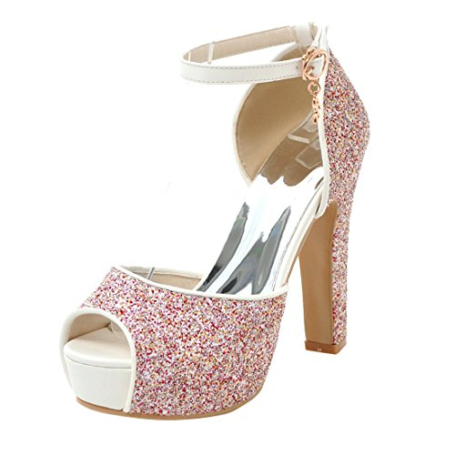 Elegant Peep Sandalen High Rot Strap Ankle Toe Riemchem mit YE Blockabsatz Glitzer Schuhe Heels Damen Plateau CBtOqTR