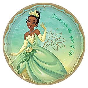 """Disney Princess"" Tiana Green and Gold Round Party Paper Plates 9″, 8 Ct."