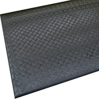 "Rhino Mats DT-4860 Diamond Tred Anti-Fatigue Mat, 4' Width x 5' Length x 1/2"" Thickness, Black"