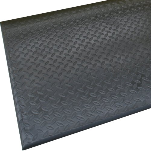 Rhino Mats DT-3672 Diamond Tred Anti-Fatigue Mat, 3' Width x 6' Length x 1/2'' Thickness, Black by Rhino Mats