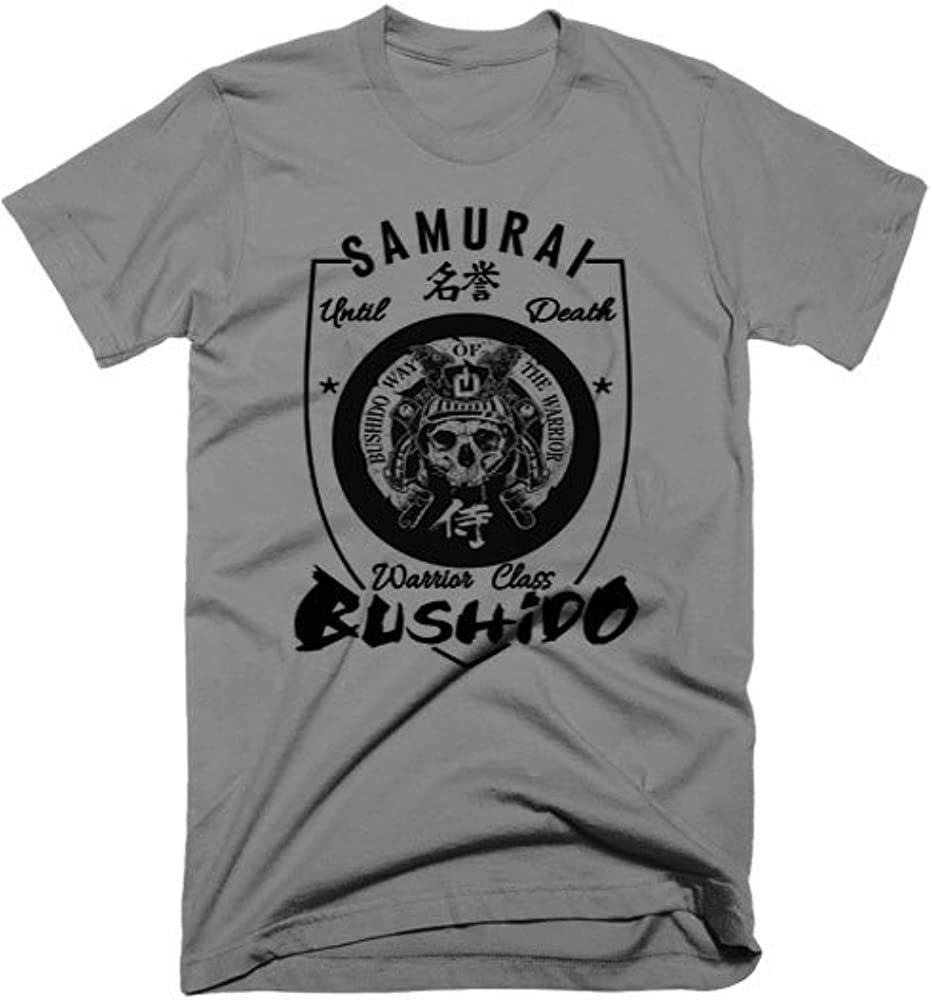 Samurai T-Shirt Bushido Japanese Kanji Katana Ninja Style Dark Grey Tee
