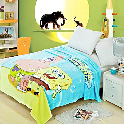 talever Kid Blanket Super Plush Throw Blanket Cartoon Print Kids Adults Character Lightweight Coral Fleece Blanket Size 59x78 inches (Spongebob)